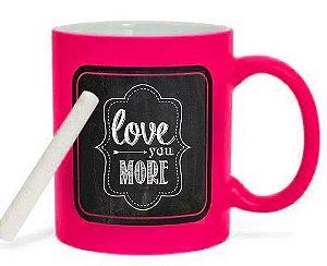 Caneca Cerâmica 325ml Rosa Pink Lousa Negra (2448) - 01 Unidade