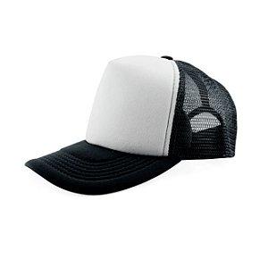 Boné de Tela e Aba Preta com a Frente Branca para Sublimação - Tamanho Único - 01 Unidade (3397)