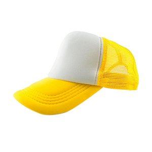 Boné de Tela e Aba Amarela com a Frente Branca para Sublimação - Tamanho Único - 01 Unidade (3392)