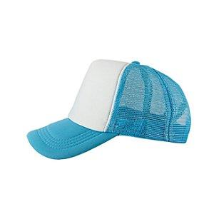 Boné de Tela e Aba Azul Claro com a Frente Branca para Sublimação - Tamanho Único - 01 Unidade (3393)