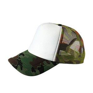 Boné de Tela e Aba Camuflada com a Frente Branca para Sublimação - Tamanho Único - 01 Unidade (3398)