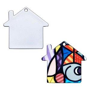 Chaveiro Polímero Branco para Sublimação Formato Casa 4x4 cm Com Argola - 10 Unidades
