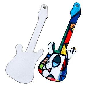 Chaveiro Polímero Branco para Sublimação Formato Guitarra 8X3 cm Com Argola - 10 Unidades