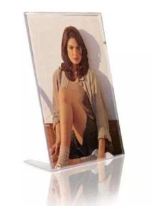 Display Expositor Acrilico Em L Porta Papel / Retrato 10x15cm (3705) - 01 Unidade