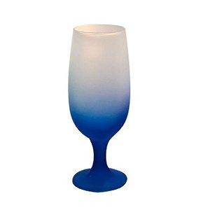 Taça de Vidro Jateado Degradê Azul Para Sublimação 330ml (3742) - 01 Unidade