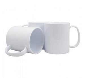 Caneca Branca Polímero 350ml P/sublimação Com Papel Sublimático, Transfer Laser, Silk Screen e Adesivação (S315) - 01 Unidade