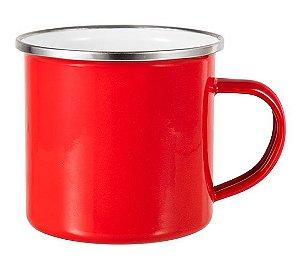 Caneca Enamel Inox Vermelha Esmaltada Borda Prata 325ml Para Sublimação (2452) - 01 Unidade