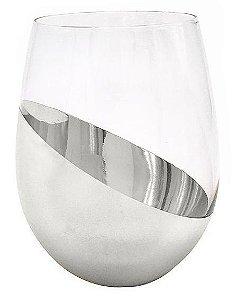 Copo de Vidro Cristal Sublimático Cromado Meia Lua Prata 540ml (Linha Elegance) (2696) - 01 Unidade