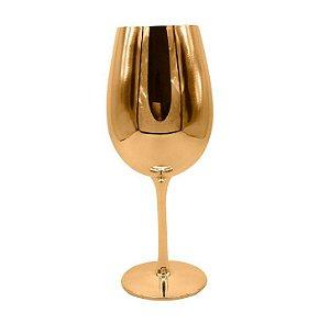 Taça de Vidro Cristal Sublimática Cromada Dourada Para Vinho 580ml (Linha Elegance) (2701) - 01 Unidade