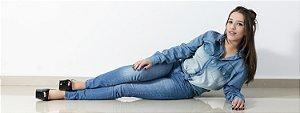 Camisa Jeans Feminina Slim