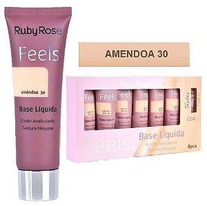 Ruby Rose - Base Mousse Feels Amendoa 30  - Box C/ 6 Unid e Prov