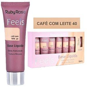 Base Matte Feels Café com Leite 40 ( Bege 4 )  Ruby Rose - Box C/ 6 Unid e Prov