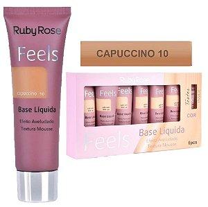 Base Matte Feels Capuccino 10 Ruby Rose - Box C/ 6 Unid e Prov