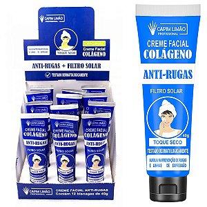 Creme Facial Anti Rugas C/ Filtro Solar Capim Limão - 12 Unid