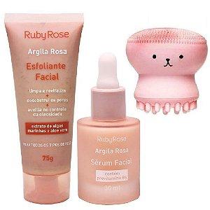 Ruby Rose - Kit Cuidado Facial Argila Rosa  - Esfoliante Facial +Serum + Esponja Polvo