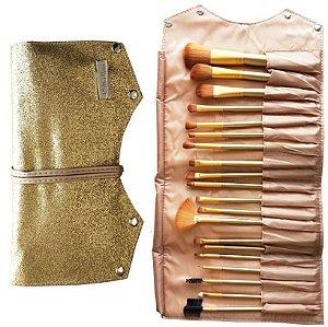 Hello Mini - KIt de Pincéis 20 Unidades com Bolsa de Luxo  - 12 Kits ( Dourado e Rosa )