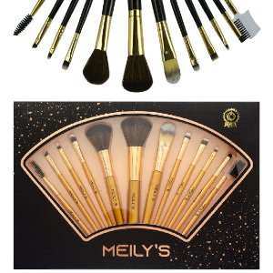 Meily´s - Kit 12 Pincéis Para Maquiagem Luxo MKP-109 ( Dourado )