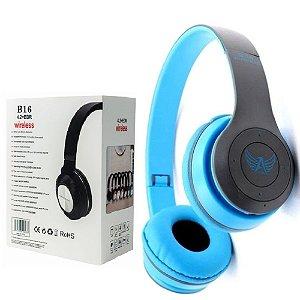 Importados - Fone De Ouvido Bluetooth Sem Fio Azul - Headphone