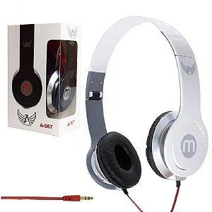 Importados - Fone De Ouvido Branco Headphone A-567 Dobrável Cabo 1m