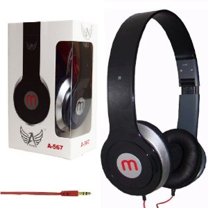 Importados  - Fone De Ouvido Preto Headphone A-567 Dobrável Cabo 1m