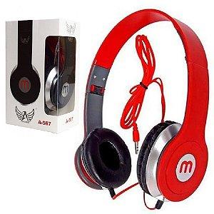 Importados - Fone De Ouvido Vermelho Headphone A-567 Dobrável Cabo 1m