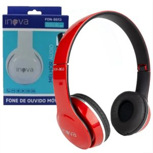 Fone de Ouvido Vermelho Headphone FON-8613