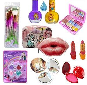 Kit de Maquiagem Infantil Presente 10 ITENS