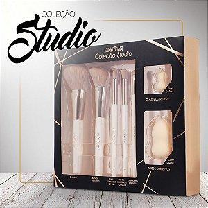 Kit de Pincel Proffisional Studio Macrilan CS100 ( 5 Pincéis e 2 Esponjas )
