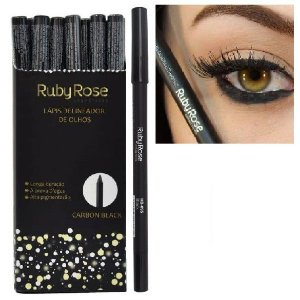Lápis Delineador de Olhos Carbon Black Ruby Rose HB050 - Box c/ 36 unid