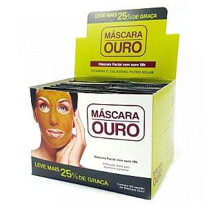 Máscara Facial Ouro Face Beautyful - Vitamina C, Colágeno e Filtro Solar ( 50 Unidades )