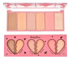 Paleta Face Kit Heart Blush Contorno e Iluminador Ruby Rose HB 7520