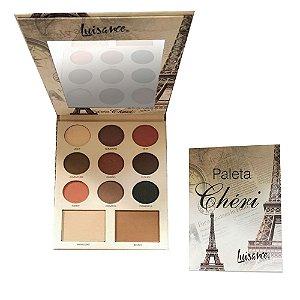 Paleta de Luxo com 9 Sombras, Blush e Iluminador Cherí Luisance L6057