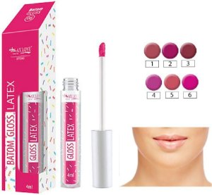 Batom Gloss Latex Cores 1 a 6 ( Kit com 6 Unidades )