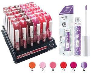 Batom Gloss Latex Translúcido com Glitter Cores 19 a 24 Max Love ( 36 Unid + Provadores )