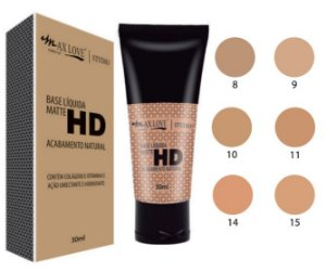 Base Matte  HD Bisnaga Max Love Cores Claras 8 a 15 ( 06 Unidades )