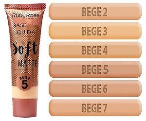 Base Soft Matte Ruby Rose Cores Médias HB8050-2 Bege ( 6 Unidades )