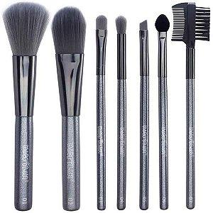 Kit de Pincéis para Maquiagem Macrilan c/ 7 Pincéis Estojo Lata KP8-1