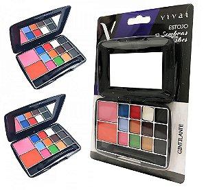24 Kit de Maquiagem 2 Blush, 12 Sombras, Espelho e Pincel  Vivai 2013