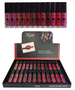 Kit de Lip Gloss Matte 3D Mylife 1848 ( 24 Unidades )