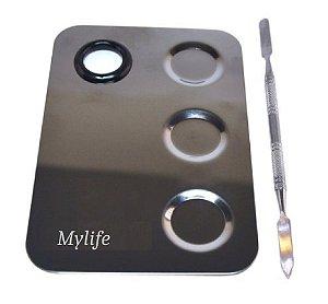 Placa de Aço com Espátula para Maquiagem com Furo e 3 Compartimentos ( 12 unidades )