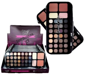 Display Paleta de  28 Sombras , Blush e Iluminador City Girl CG129-Nude ( 06 Unidades )