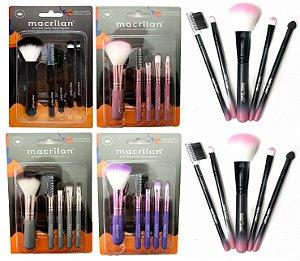 Kit de Pincéis para Maquiagem Macrilan com 5 Pincéis KP5-18 ( 12 Unidades )