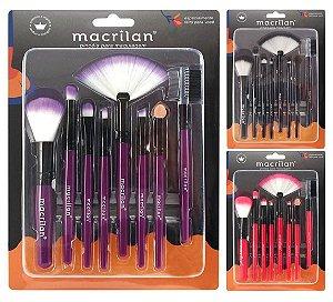 Kit com 8 Pincéis para Maquiagem KP3-1A Macrilan  ( 12 Kits )