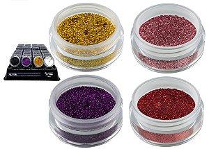 Display de Sombra Glitter Max Love Cores Dourada, Rosa, Roxo e VErmelho ( 32 Unid + 4 Prov )