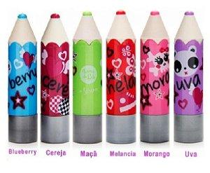 Batom Infantil Lápis Frutas Turma da Lu LT2007 ( 06 Unidades )