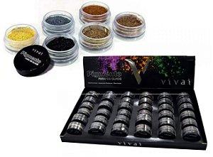 Pigmento para Olhos Sombra em Pó Vivai 1058 - Display com 36 unidades