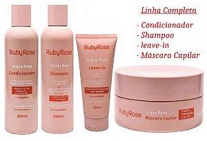 Kit Tratamento Capilar Argila Rosa Ruby Rose - Kit com Shampoo, Condicionador, Leave-In e Máscara Capilar ( 4 Itens )