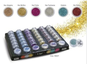 Sombra Glitter Solto em Pó Face beautiful - Display com 42 Unidades
