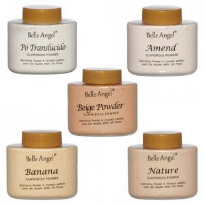 Pó Facial Solto Translucido, Banana Glamorous Powder Belle Angel B076 - Kit com 5 unidades