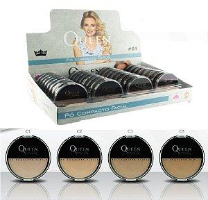 Pó Compacto Cores claras Queen QBXPCC- - Display com 32 Unidades + Prov